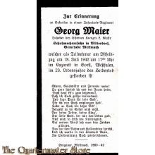 In Memoriam Karte/Death notice Georg Maier