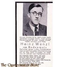 In Memoriam Karte/Death notice Heinz Wenzl