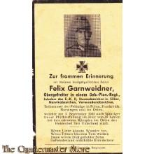 In Memoriam Karte/Death notice Felix Granweidner