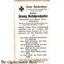 In Memoriam Karte/Death notice Franz Reschenhofer