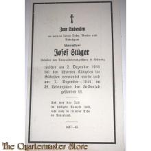 In Memoriam Karte/Death notice (Inf Reg) 1944 Sudosten