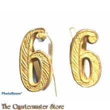 Wehrmacht shoulderboard numerals 6 (gold)