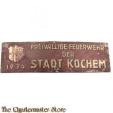 Wandschild Freiwillige Feuerwehr der Stadt Kochem 1936 (Rijnland-Palts) (Metal sign voluntary Firefighters Kochem 1936)