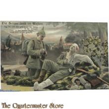 Militair Postkarte 1914  Die Sonne sank im Westen Sag Ihr, ich war geblieben