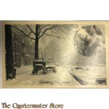Prent briefkaart 1940 Gelukkig Nieuwjaar Besneeuwde grachten soldaat voert paard hooi