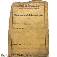 Wehrmacht-Fahrlehrerschein 1944 (WH Driver instructor Licence 1944)