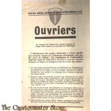 Flugblatt / Leaflet WG.7F, OUVRIERS Alliiertes Oberkommando