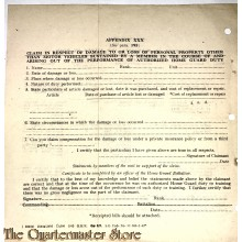 Claim in respect of damage to or loss of personal property  1942