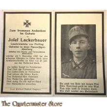 In Memoriam Karte/Death notice Gefr in einem Panzer jager Abteilung (Osten)