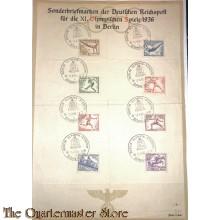 Sammlung Sonderbriefmarken der Reichspost  fur die XI Olympischen Spiele  1936 in Berlin (Stamps Olympic Games Barlin 1936)