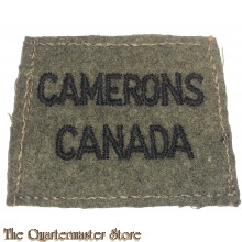 Shoulder title (slip on) Camerons Canada, 2nd Canadian Division