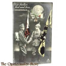 Postkarte 1914 Wir halten Fest und Treue zusammen