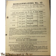 Bonaanwijzing no 10  Distributie-centrale XIV (Amersfoort) 5 t/m 6 juni 1945