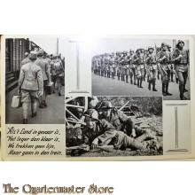 Prent briefkaart mobilisatie 1940 Als het land in gevaar is het leger dan klaar is, we trekken geen lijn maar gaan in den trein
