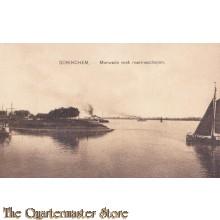 Prent briefkaart 1912 Gorinchem, Merwede met marineschepen