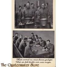 Prent briefkaart mobilisatie 1940 eten halen, geslagen magen