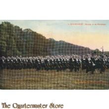 Prent briefkaart 1914 's Gravenhage Parade in de Maliebaan