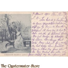 Prent briefkaart 1900 Scheiden brengt lijden