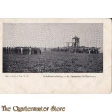 Prent briefkaart 1906 Godsdienstoefeninge in de legerplaats bij Harskamp