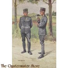 Prent briefkaart 1940 jagers en grenadiers soldaten