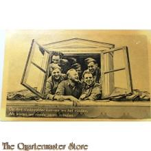 Prent briefkaart mobilisatie 1939 Op den slaapzolder kunnen we het vinden
