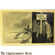 Prent briefkaart mobilisatie 1939 Gelukkig Nieuwjaar (met hoefijzer)