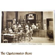 Prent briefkaart mobilisatie 1914 Utrecht Damlustkazerne Manschappen cantine