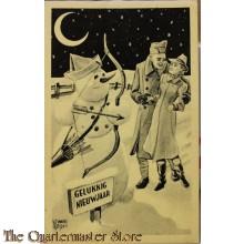 Prent briefkaart mobilisatie 1939 Gelukkig Nieuwjaar stel met cupido sneeuwpop