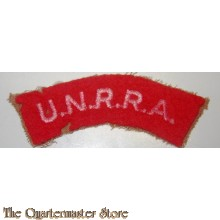 """embroidered shoulder titles. An arc of red fabric on which is written in white """"U.N.R.R.A.""""."""