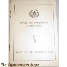 Rules of the sergeants' Mess 9th BN. the Cameronians (Scottish Rifles)