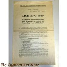 Brochure Inlichtingen 1920 voor ingeschrevenen voor de Militie, in verband met vrijstelling van Militie dienst Utrecht