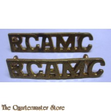 Shoulder titles Royal Canadian Army Medical Corps (R.C.A.M.C.) brass