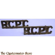 Shoulder titles Royal Canadian Postal Corps (R.C.P.C.) brass