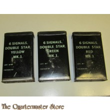 Boxes 'Signal Cartridges'  set of 3 red/green/yellow (Blikjes voor Britse signaal patronen rood/geel/groen)