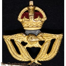 WWII RAF - RCAF - RAAF Warrant Officer Hat Badge Brass with Velvet Detail