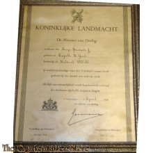 Oorkonde Demobilisatie insigne Nederlands Indie 1950
