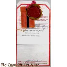 Standmodel (Sealed Sample) van het lint  Bronzen Kruis CANADA