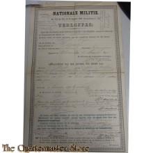 Verlofpas Nationale Militie 1901 Scheemda