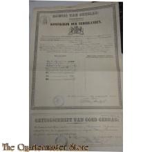 Bewijs van ontslag 1901  5e Batt 1 Reg Infanterie