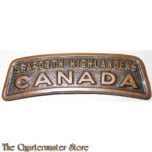 """Seaforth Highlanders, Canada"" copper shoulder title"