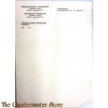 Briefpapier Nederlandsche Volksdienst / WInterhulp Nederland Provinciaal bureau Zuid Holland