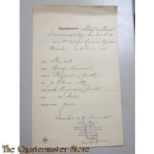 Document 1906 Signalement Soldaat 11e Bat Landweer Infanterie Deventer