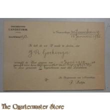 Inschrijvings bewijs 1920 jaarklasse 1913