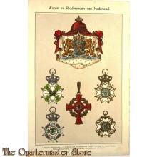 Polychroom afbeeldingen Wapens en ridderorden van Nederland