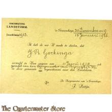 Bewijs van inschrijving Landstorm  Den Haag 1920