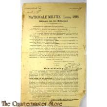 Aankondiging Zittingen van den Militieraad 1898 Utrecht