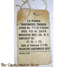 US Army label 12 pairs of suspenders 1943