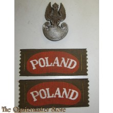 Cap badge and shoulder titles Poland (war economy plastic)