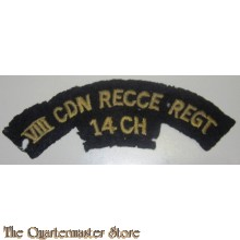 Shoulder title 8th Reconnaissance Regiment (14th Canadian Hussars), commonly abbreviated to 8 Recce, VIII Recce or (within the British Army) 8 Canadian Recce