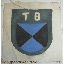 it shows the black-/blue-coloured shield with above the interwoven 'Cyrillic' characters: 'TB'. Simply a truly rarely encountered piece of eastern volunteer related insignia: one of the more harder to encounter specimen of the colourfull series!